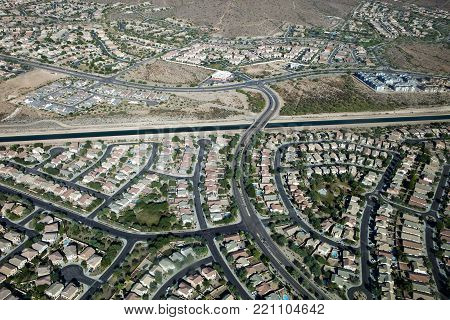 An aerial view of the residential suburb in Phoenix