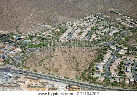 The suburban houses in the deserts of Phoenix