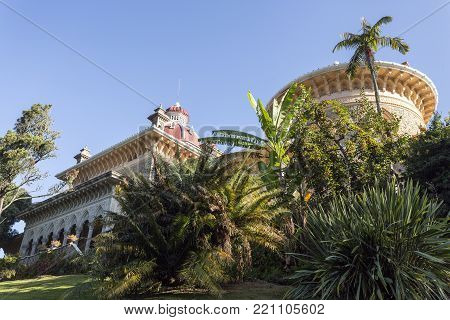 MONSERRATE, PORTUGAL - October 3, 2017: View from the park of Monserrate Palace in Sintra, Portugal