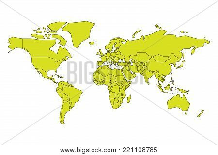 Simplified map of World in yellow-green color. Schematic vector illustration.