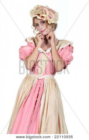Woman in a flouncy period fancy dress costume