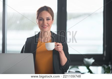 Portrait of happy businesswoman drinking mug of appetizing beverage while typing in laptop. Rest concept. Copy space