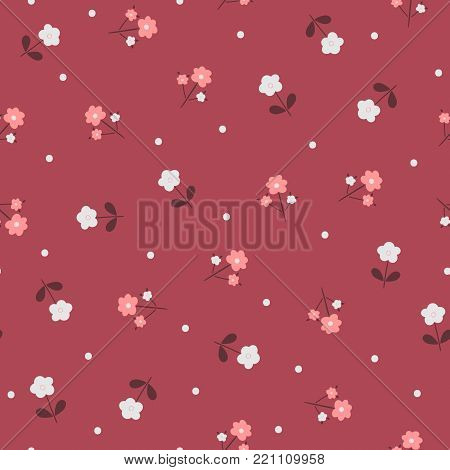 Cute floral seamless pattern. Abstract flowers and polka dot. Vector illustration.