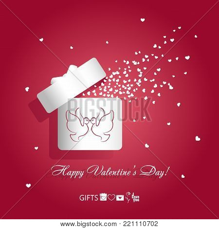 Valentine's day concept vector illustration open white gift box with kissing pair of birds pigeons and flying hearts on red background. Symbols of love gifts: box, heart, envelope, rose