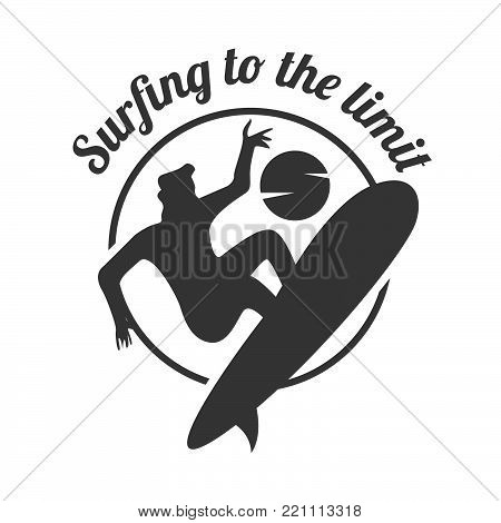 Surfing to the limit. Summer surfing sports vector logo , surf board and ocean wave. Summer sport surfing, illustration of sport surf board badge