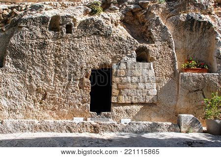 JERUSALEM, ISRAEL - AUGUST 07, 2010: Horizontal picture of The Tomb located outside the Old City in Jerusalem, Israel