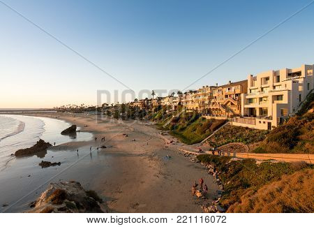 NEWPORT BEACH, CALIFORNIA - 4 NOVEMBER 2017: Expensive ocean side homes at Newport Beach in California