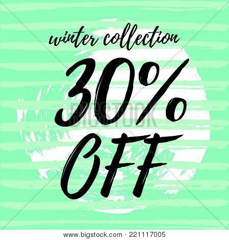 Vector illustration, sale banner design. Sale -30%. Hand drawn paint background.