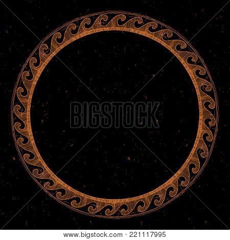 Round Greek ornament with meander and wave in red-figure pottery painting style.