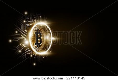Golden bitcoin digital currency, futuristic digital money and technology worldwide network concept perspective view, vector illustration
