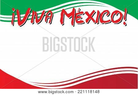 Viva Mexico Postcard Template with Mexican Flag
