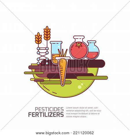 Pesticides, Fertilizers Concept. Vector Illustration Of Vegetables And Grains With Chemicals. Agricu