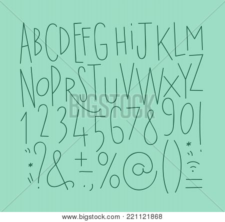 Alphabet set straight lines font in vintage style drawing with menthol lines on turquoise background