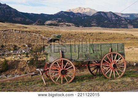 Old Farm Wagon in the Yellowstone River Valley near Gardiner, Montana