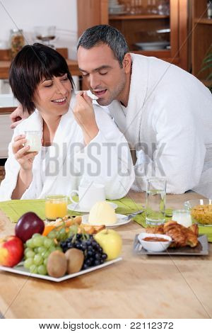 couple having breakfast at home