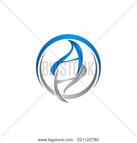 circle letter ah initial alphabet symbols logo design template white background