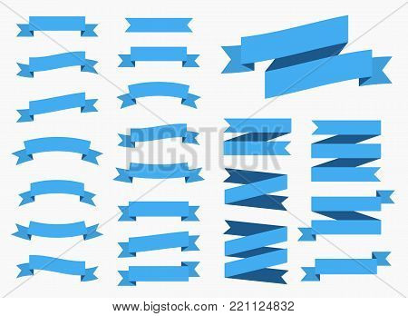 Vector ribbons banners isolated on White background. Blue tapes. Set of 22 blue ribbons banners