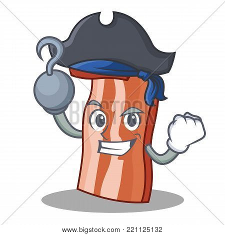 Pirate bacon character cartoon style vector illustration