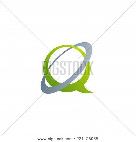 Letter Q with swoosh circle Abstract Initial alphabet Logo design Template