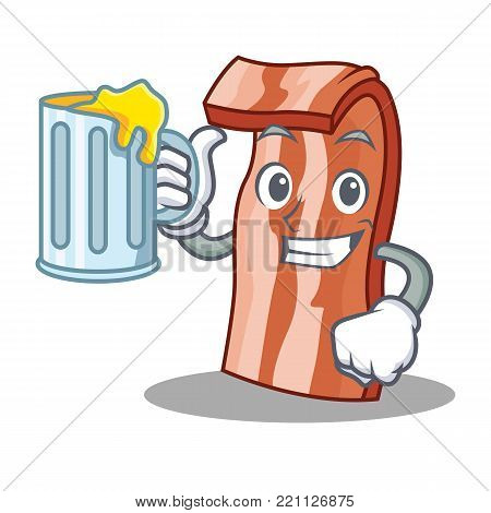 With juice bacon mascot cartoon style vector illustration