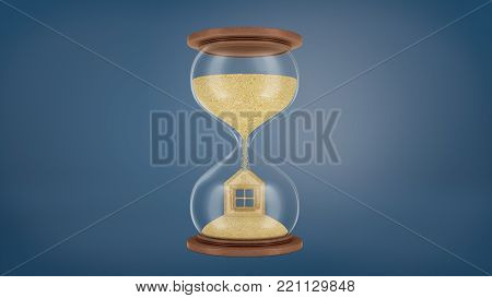 3d rendering of a large retro hourglass with wooden bases with the sand falling in the lower chamber and forming a house shape. Time and money. Mortgage. Saving money for house.