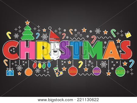Vintage Christmas flat line doodle glow black background. Vector illustration Merry Christmas holliday background concept.