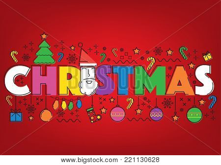 Vintage Christmas flat line doodle glow red background. Vector illustration Merry Christmas holliday background concept.