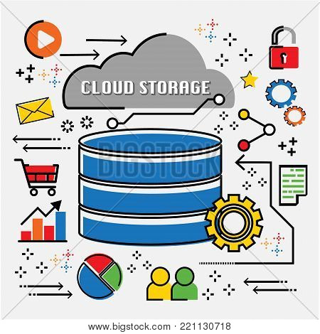 Cloud computing storage technology IoT abstract infographic flat line doodle. Vector illustration business trend cloud computing concept.