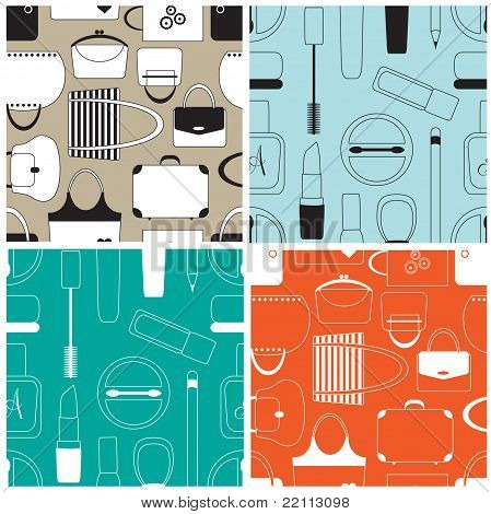 Set of cosmetics seamless pattern