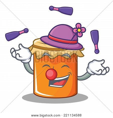 Juggling jam mascot cartoon style vector illustration