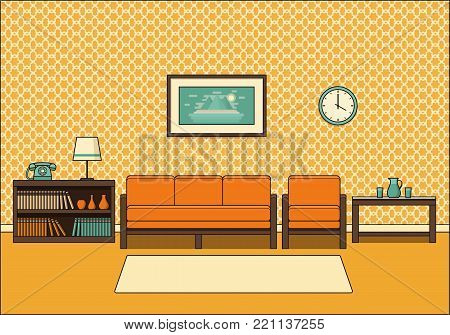 Living room retro interior. Line art room in flat design. Linear vector illustration. Vintage house equipment. Home space with sofa, armchair and coffee table. Cartoon furniture.