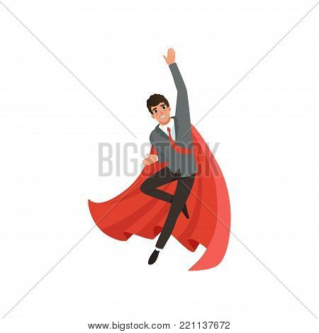 Young business man in formal suit, red tie and superhero cloak. Cartoon guy character in flying action. Career advancement. Successful office worker with happy face expression. Flat vector design.