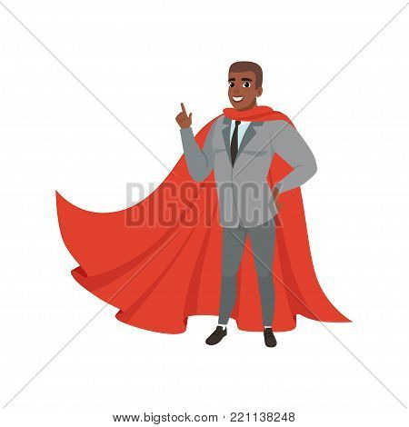Cheerful afro-american business man standing with index finger up. Cartoon male character in formal suit, black tie and red superhero mantle. Successful office worker. Isolated flat vector design.