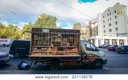 St Petersburg, Russia - Oct 7, 2016. A bakery on street at downtown in Saint Petersburg, Russia. Saint Petersburg has a significant historical and cultural heritage.