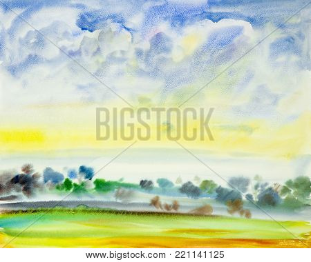 Abstract watercolor painting landscape on paper colorful of garden view on hill mountain in the beauty spring season blue sky cloud background. Painted Impressionist, illustration image.