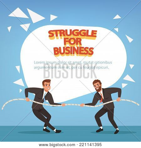 Young men in formal black suits pulling rope, struggle for business. Competition concept. Cartoon males characters tug of war on blue background. Colorful flat vector design for banner or poster.