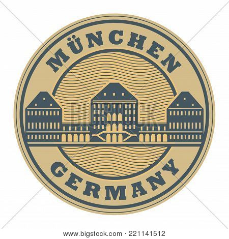 Stamp with words Munchen, Germany inside, vector illustration