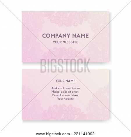 Template business card for Wedding Salon. Layout for print, vector illustration. Pink and white. The concept of Bridal shop. Beautiful flowers with swirls.