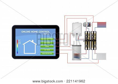 Smart home management. Control panel vector illustration. Underfloor heating, ventilation, boiler, hot water, radiator heating.