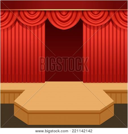 Open theater scene with red curtain and fashion podium. Wooden show stage with scarlet velvet drapery and pelmets. Colorful background for event or mannequin parade. Vector flat cartoon illustration.