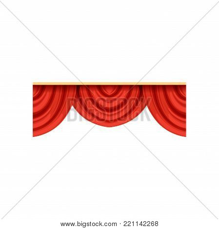 Detailed red silk or velvet pelmets for theater stage. Icon of realistic cartoon classical scarlet drapery lambrequins with light and shadows for concert hall poster design. Vector isolated on white.
