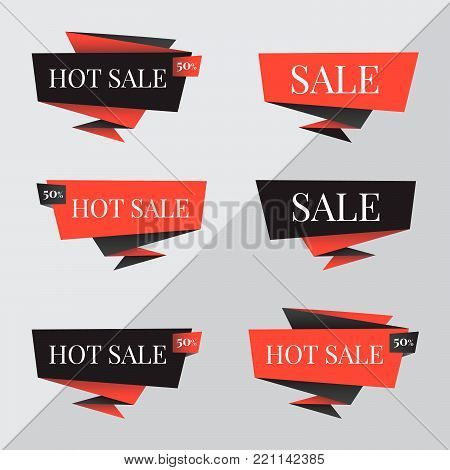 Origami speech bubbles. Origami banners vector for Black friday sale design. Set of red discount and promotion banners, Black friday sale banners. Vector advertising labels, price tags design.