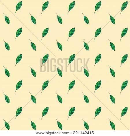 Seamless leaf pattern on yellow background. Green Leaf vector pattern. Floral pattern vector background. Fallen green leaf pattern fabric. Fabric print design, leaf print pattern.
