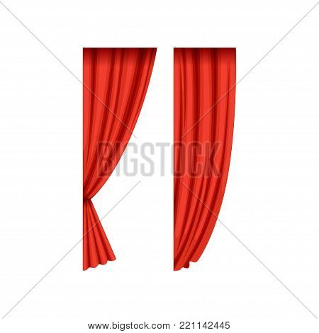 Two red silk or velvet theatrical curtains for left side of the stage. Cartoon classical scarlet drapery with light and shadows. Concert hall design element. Vector isolated on white background.