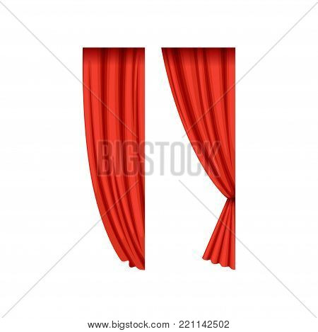 Icons of red silk or velvet theatrical curtains for right side of the stage. Cartoon luxury scarlet drapery with light and shadows. Interior design element. Flat vector isolated on white background.