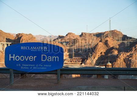 Entrance sign at Hoover dam in Arizona in United States