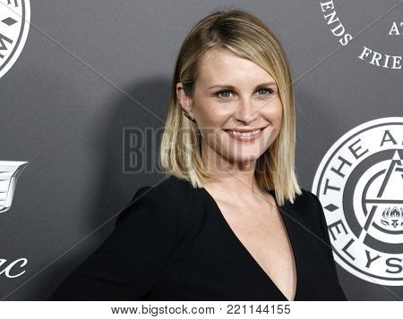 Bonnie Somerville at the Art Of Elysium's 11th Annual Heaven Celebration held at the Barker Hangar in Santa Monica, USA on January 6, 2018.