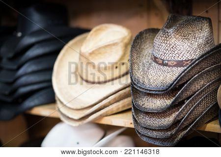 Cowboy hats for sale on shelf