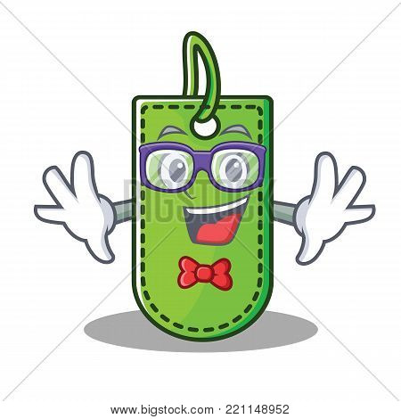 Geek price tag character cartoon vector illustration