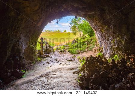 View from the crematorium cave at Plain of Jars. Phonsavan. Laos.